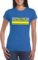 Politie logo t-shirt blauw voor dames XS