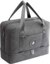 Handbagage Reistas – Waterdicht Vak – Vak voor Schoenen – Vak voor Overige Spullen – Grijs