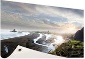 Strand panoramafoto Nieuw-Zeeland Tuinposter 60x40 cm - klein - Tuindoek / Buitencanvas / Schilderijen voor buiten (tuin decoratie) / Zee en Strand