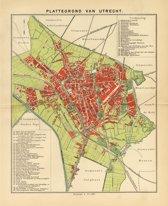 Utrecht, mooie vergrote reproductie van Utrecht uit ca 1910, met veel benamingen van scholen, kerken, stations en overheidsgebouwen