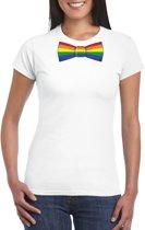 Wit t-shirt met regenboog vlag strikje dames 2XL