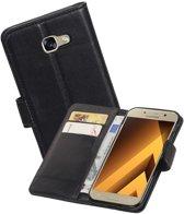 Echt Lederen Hoesje Wallet Case voor Samsung Galaxy A5 (2017) Zwart