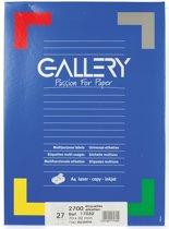 6x Gallery witte etiketten 70x32mm (bxh), rechte hoeken, doos a 2.700 etiketten