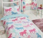 Peuter / junior meisjesdekbedovertrek retro paarden en pony's in pasteltinten