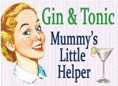 Mini emaille muurplaatje Gin and Tonic 15x20cm