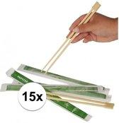 15 paar Eetstokjes van bamboe hout 2 stuks