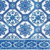20x Servetten Portugees blauw tegelprint 33 x 33 cm - Feest/party servetten met azulejo print uit Portugal