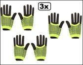 3x Paar nethandschoenen vingerloos neon geel