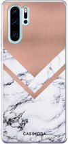 Huawei P30 Pro siliconen telefoonhoesje - Rose gold marble