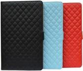 Diamond Class Case met ruitmotief en 360° draaibaar voor Medion Lifetab P8912 Md99066, Designer hoesje, blauw , merk i12Cover