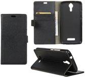 Litchi cover wallet case hoesje Alcatel One Touch Pop 4 zwart
