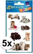 5x Kitten stickers 3 vellen - katten/poeze stickers
