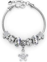 Yolora armband White Flowers - Dames - Swarovski kristal - 22,5 cm - YO-096