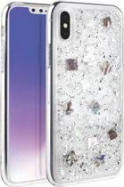 iPhone Xs Max  - UNIQ -  Zeer mooi ontworpen hoesje extreem sterk & duurzaam materiaal – Lumence Clear–  Zilver kleur, glitters & Flexibele rubberen/ transparante achterkant
