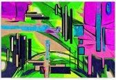 Schilderij - Abstract in groen en paars, 1 deel