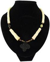 Bohemian ketting - Jade met zwarte bloemhanger - 46 cm - Edelsteen