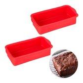 relaxdays 2x siliconen bakvorm - rechthoekig - cakevorm - taartvorm - broodvorm - rood
