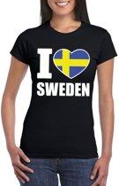 Zwart I love Zweden fan shirt dames XS