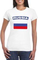 T-shirt met Russische vlag wit dames XS