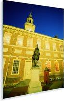 De verlichte Independence Hall in het Amerikaanse Philadelphia Plexiglas 60x80 cm - Foto print op Glas (Plexiglas wanddecoratie)
