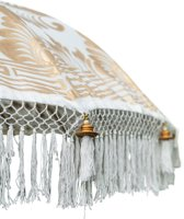 Bali parasol, crème, breedte 250 cm, met volle gouden beschildering