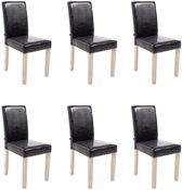 Clp Ina - Set van 6 eetkamerstoelen - Kunstleer - Bruin