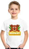 Browny de beer t-shirt wit voor kinderen - unisex - beren shirt M (134-140)