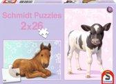 Schmidt puzzel veulens en kalfjes 2 x 26 stukjes