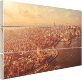 Vogelvlucht over Manhattan Hout 120x80 cm - Foto print op Hout (Wanddecoratie)
