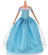 Blauwe Prinsessenjurk, baljurk of trouwjurk met vlinders en een schort van kant voor de Barbie pop - NBH®
