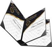 Rapportmap / Diplomamap / Certificaat Mappen - 4x A4 - Houtpatroon Zwart