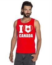 Rood I love Canada supporter singlet shirt/ tanktop heren - Canadees shirt heren L