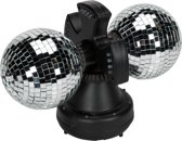 PartyFunLights Dubbele discolamp met 2 LED-spots - spiegelbol
