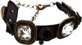 Imitatieleren armband met kristallen - Zwart PU 18-23 cm - Dielay