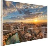 Zonsopkomst Las Vegas Hout 80x60 cm - Foto print op Hout (Wanddecoratie)