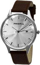 Prisma Herenhorloge P.1626.400F Lederen band Zilver