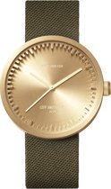 LEFF amsterdam tube watch D42 LT72024 - Brass - Green cordura strap - Cordura - Goud/Groen - Ø 42mm