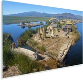 Huisjes op de Uroseilanden in Peru Plexiglas 90x60 cm - Foto print op Glas (Plexiglas wanddecoratie)