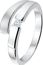 The Jewelry Collection Ring Zirkonia Poli/mat - Zilver