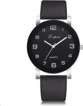 LVPAI Quartz Horloge | Zwart & Zwart | PU Lederen Band | Fashion Favorite