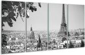 Glas schilderij Parijs, Steden | Zwart, Grijs | 160x80cm 4Luik | Foto print op Glas |  F006843