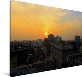 Zonsondergang boven Dhaka Canvas 30x20 cm - klein - Foto print op Canvas schilderij (Wanddecoratie woonkamer / slaapkamer) / Aziatische steden Canvas Schilderijen