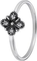Lucardi - Zilveren ring bloem met zirkonia Bali