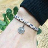 Armbandje Leopard Brown Lucky coin zilver