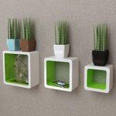 Wandplanken kubus MDF zwevend voor boeken/dvd 3 st wit-groen (incl. Fotolijst)