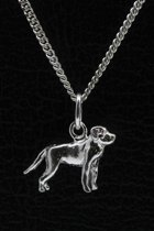 Zilveren Rottweiler met staart ketting hanger - klein