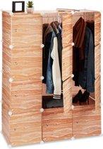 relaxdays kledingkast kliksysteem houtlook - 8 vakken - kunststof garderobekast - waskast
