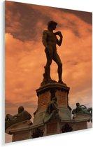 Oranje tinten in de lucht boven het David beeld in Italië Plexiglas 120x180 cm - Foto print op Glas (Plexiglas wanddecoratie) XXL / Groot formaat!