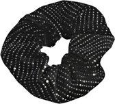 Lucardi Diversen  - Velvet scrunchie zwart met glitter