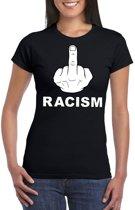 Fuck racism t-shirt zwart voor dames XS